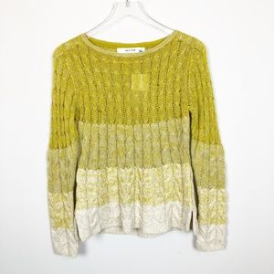 Anthropologie Yellow Ombre Cable Knit Sweater